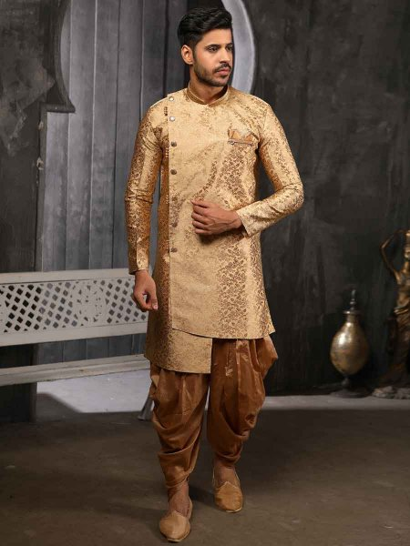 Golden Yellow Jacquard Silk Handwoven Festival Sherwani