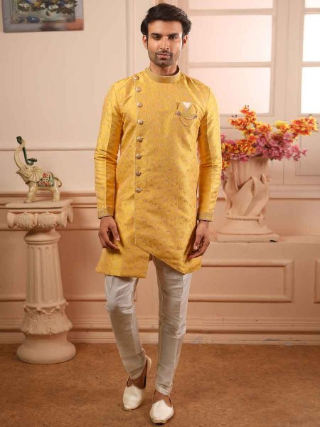 Maize Yellow Jacquard Silk Handwoven Festival Sherwani