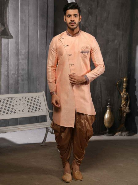 Peach-Orange Banarasi Silk Handwoven Festival Sherwani