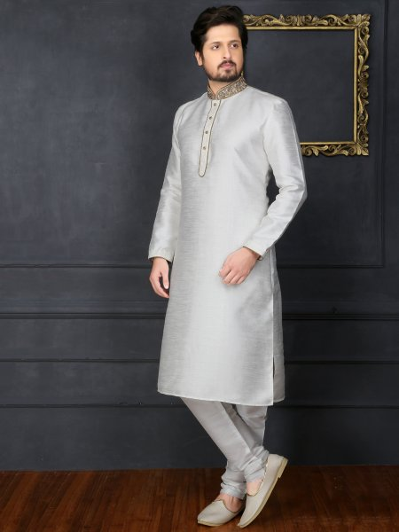 Off White Art Banarasi Silk Embroidered Festival Kurta