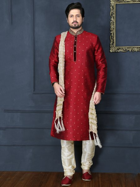 Cardinal Red Art Banarasi Silk Embroidered Festival Kurta