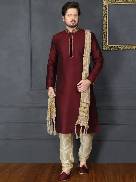 Maroon Art Banarasi Silk Embroidered Festival Kurta