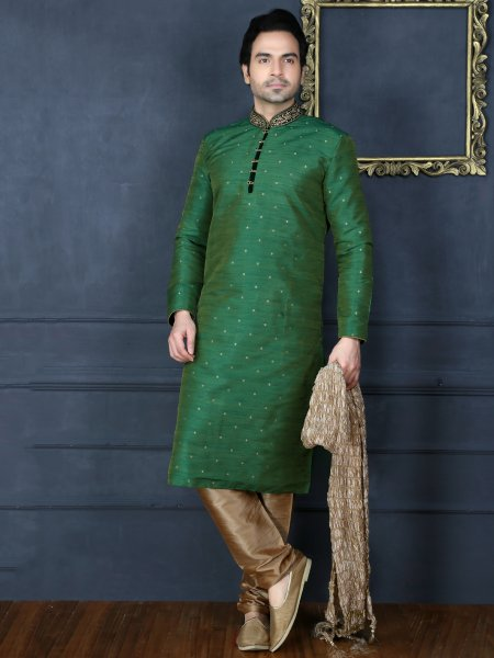 Viridian Green Art Banarasi Silk Embroidered Festival Kurta