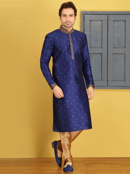 Dark Blue Art Banarasi Silk Embroidered Festival Kurta