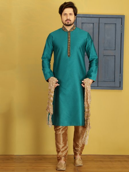 Teal Blue Art Banarasi Silk Embroidered Festival Kurta