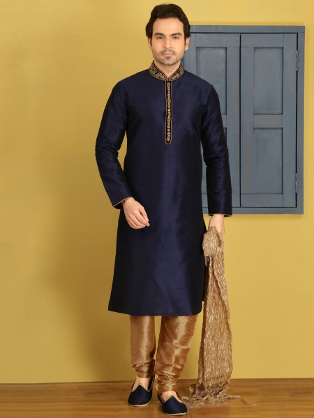 Sapphire Blue Art Banarasi Silk Embroidered Festival Kurta