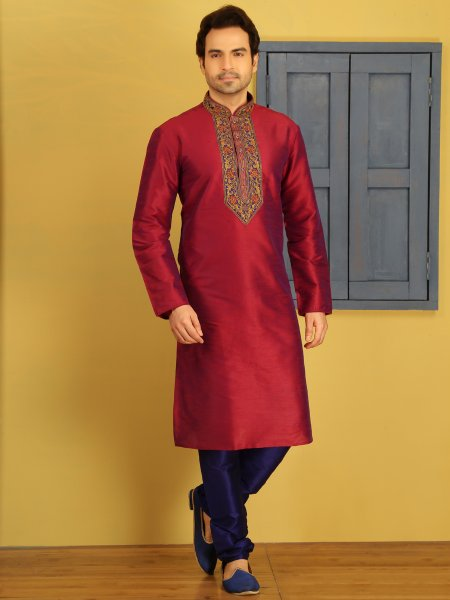 Deep Cerise Pink Dupion Art Silk Embroidered Festival Kurta