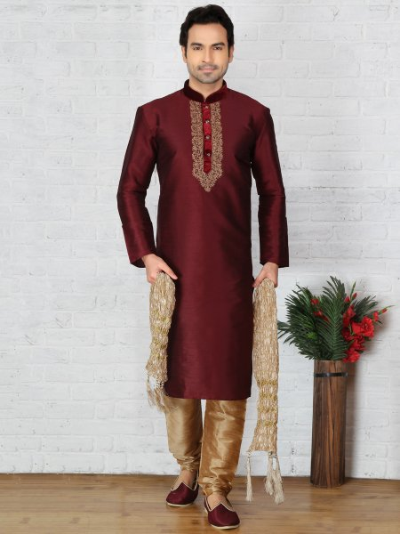 Maroon Dupion Art Silk Embroidered Festival Kurta