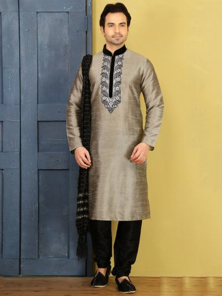 Beige Yellow Dupion Art Silk Embroidered Festival Kurta