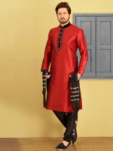 Coral Red Dupion Art Silk Embroidered Festival Kurta