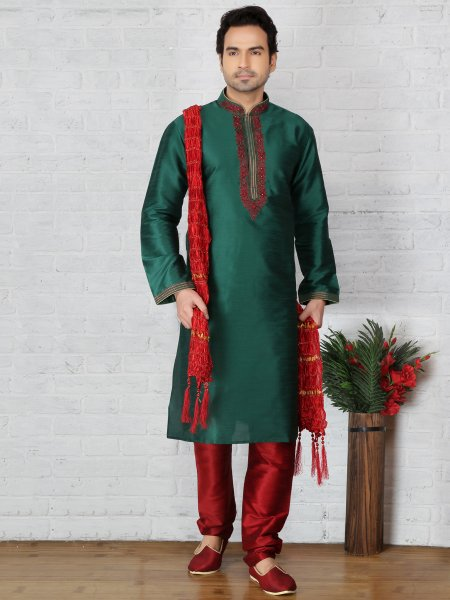 Pine Green Dupion Art Silk Embroidered Festival Kurta