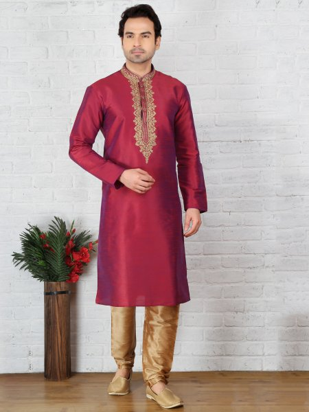 Deep Cerise Red Dupion Art Silk Embroidered Festival Kurta