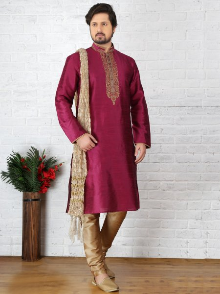 Red Violet Dupion Art Silk Embroidered Festival Kurta