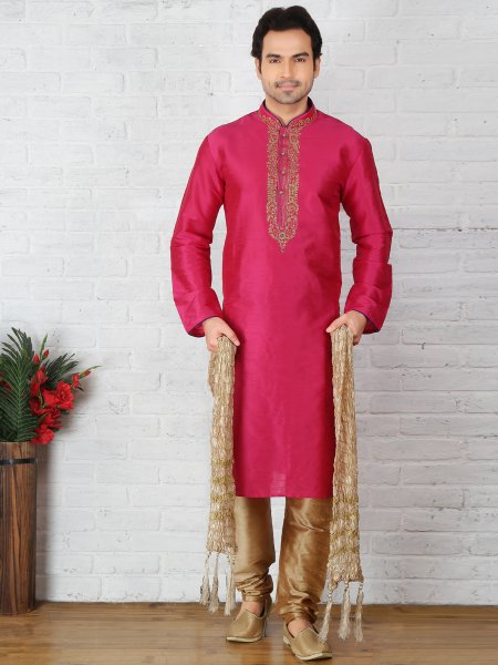 Persian Rose Pink Dupion Art Silk Embroidered Festival Kurta