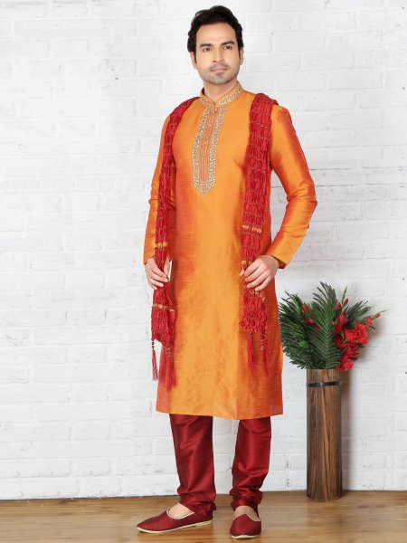 Orange Peel Dupion Art Silk Embroidered Festival Kurta