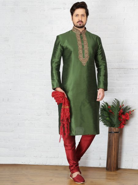 Olive Green Dupion Art Silk Embroidered Festival Kurta