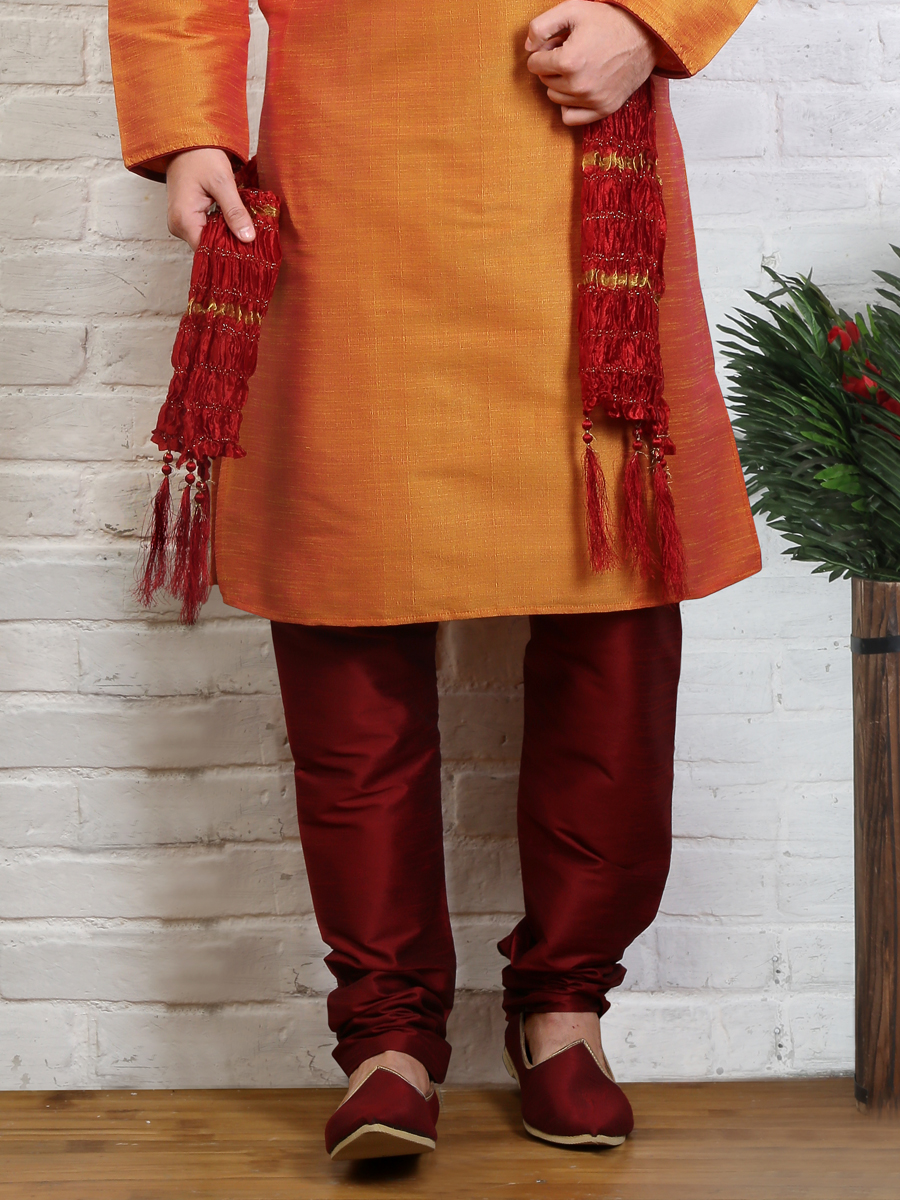 Orange Peel Art Banarasi Silk Embroidered Festival Kurta