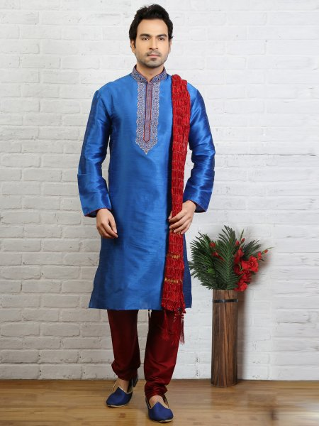 Dodger Blue Dupion Art Silk Embroidered Festival Kurta