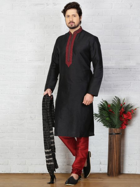 Black Dupion Art Silk Embroidered Festival Kurta