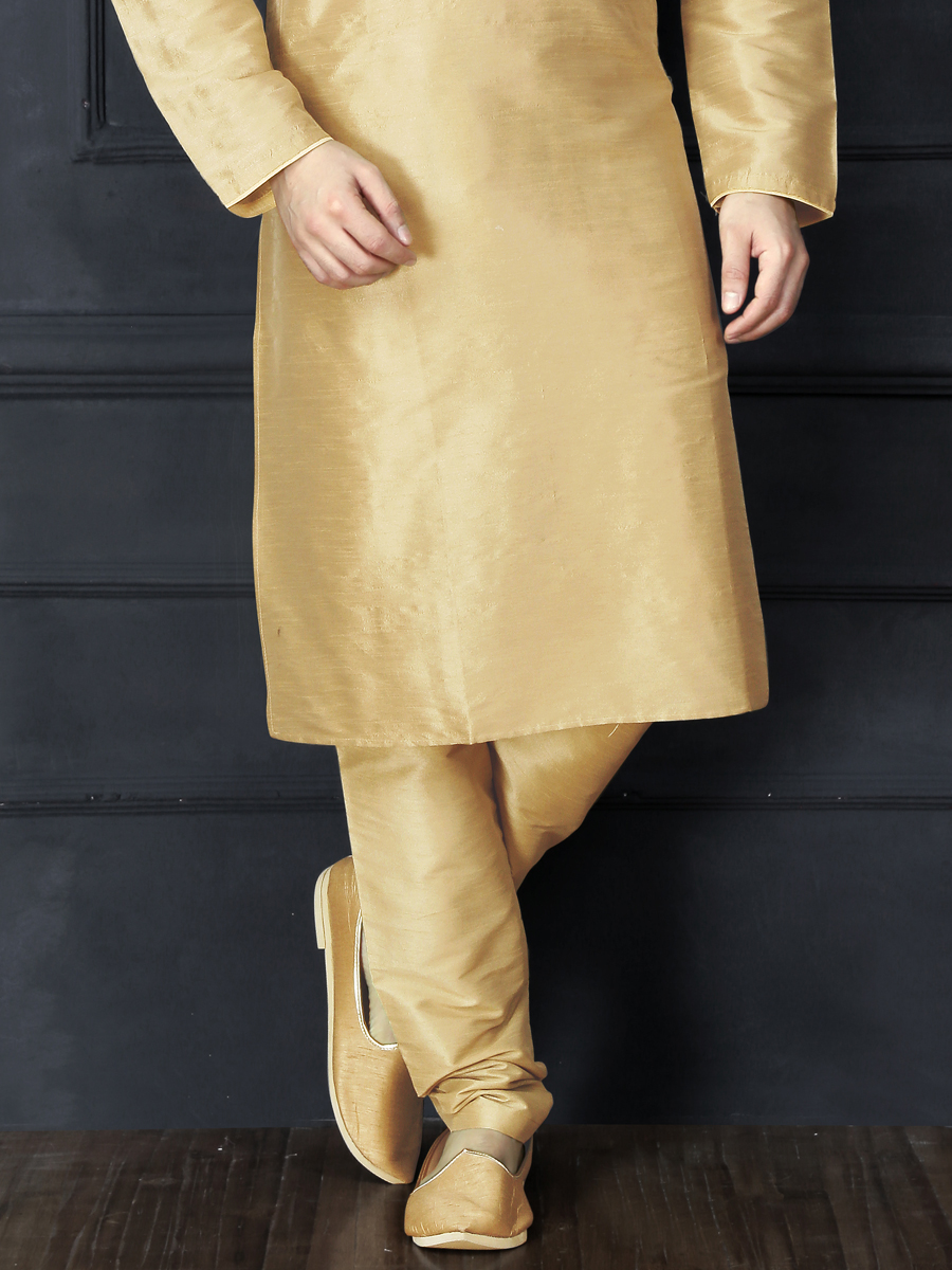 Cream Yellow Dupion Art Silk Embroidered Festival Kurta