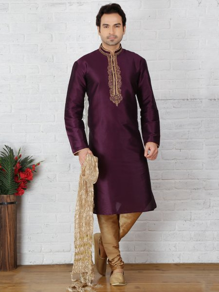 Byzantium Purple Dupion Art Silk Embroidered Festival Kurta