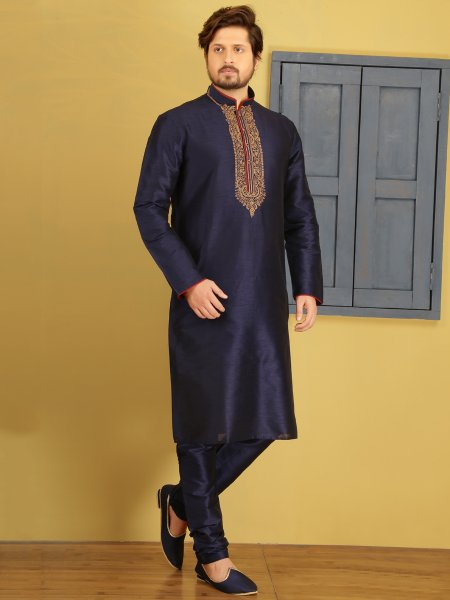 Midnight Blue Dupion Art Silk Embroidered Festival Kurta