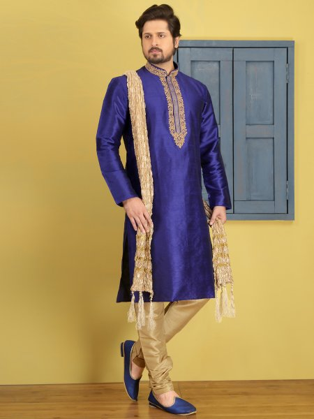 Dark Blue Dupion Art Silk Embroidered Festival Kurta