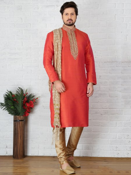 Coral Red Art Banarasi Silk Embroidered Festival Kurta