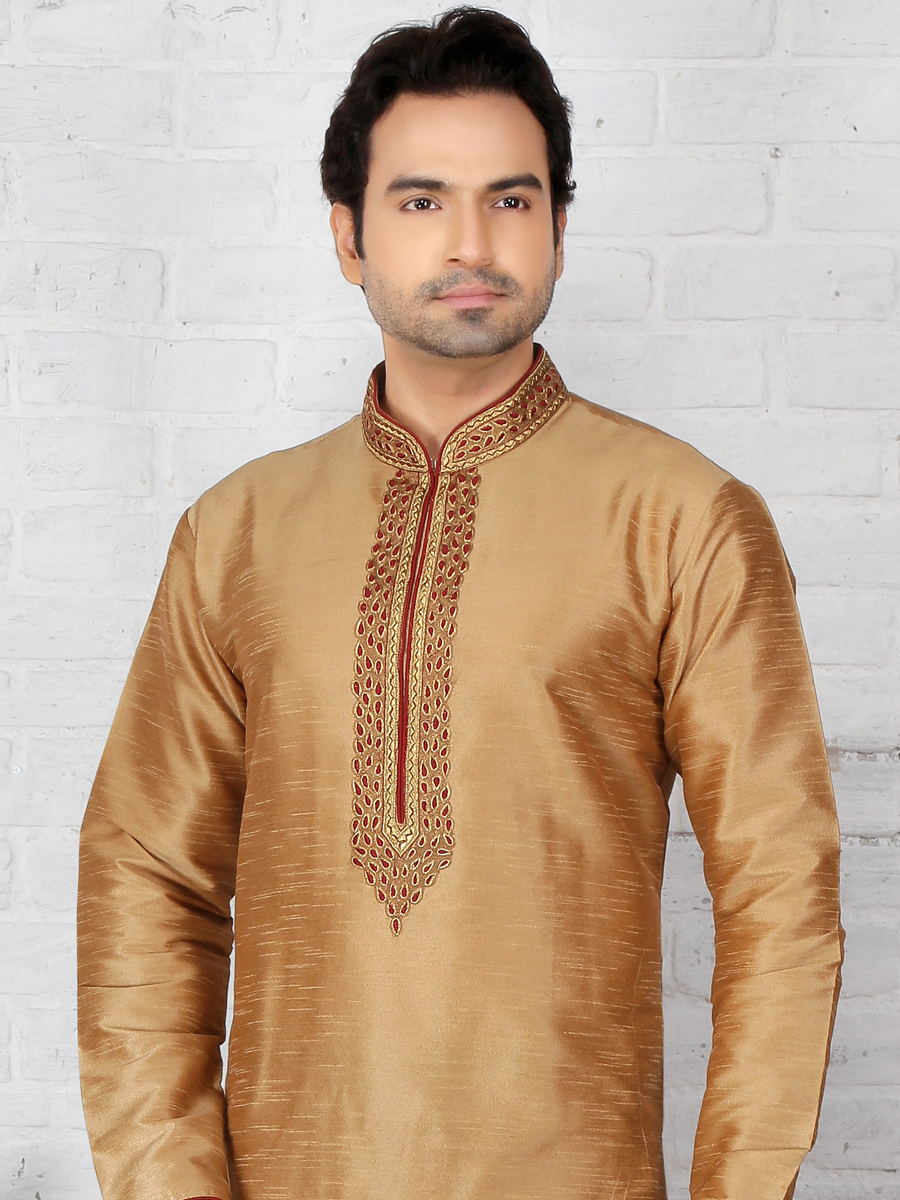 Peach Yellow Dupion Art Silk Embroidered Festival Kurta