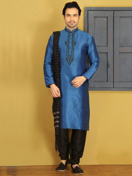 Carolina Blue Dupion Art Silk Embroidered Festival Kurta