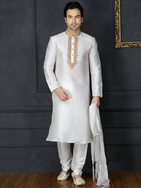 Off White Dupion Art Silk Embroidered Festival Kurta