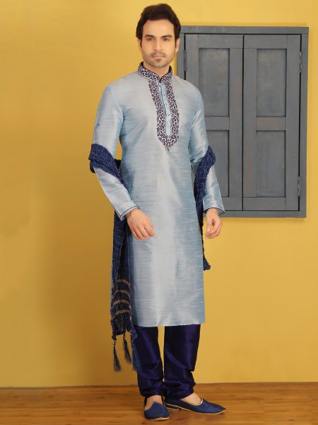 Powder Blue Dupion Art Silk Embroidered Festival Kurta