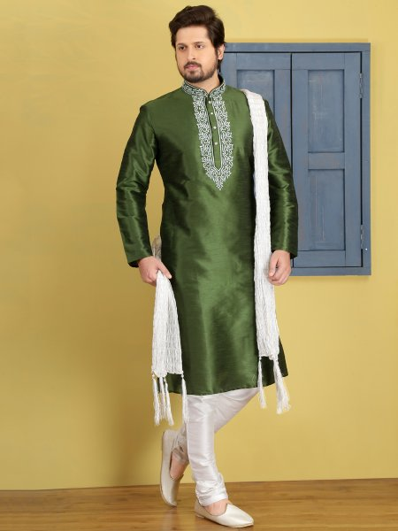 Fern Green Dupion Art Silk Embroidered Festival Kurta