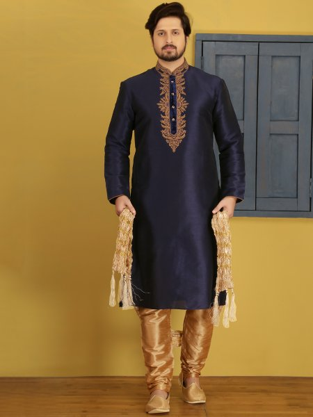 Midnight Blue Art Banarasi Silk Embroidered Festival Kurta