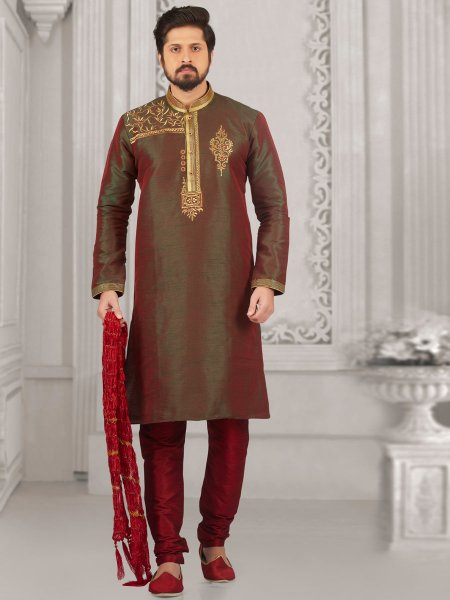Army Green Art Banarasi Silk Embroidered Festival Kurta