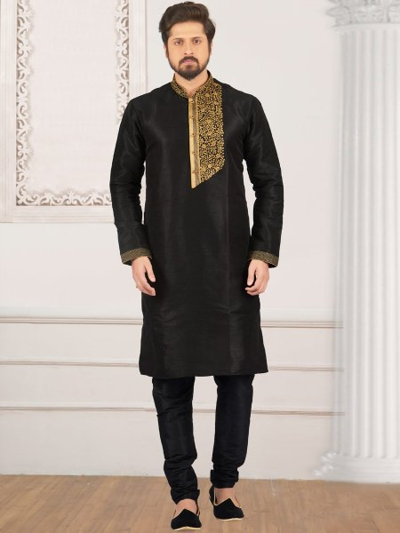Black Art Banarasi Silk Embroidered Festival Kurta