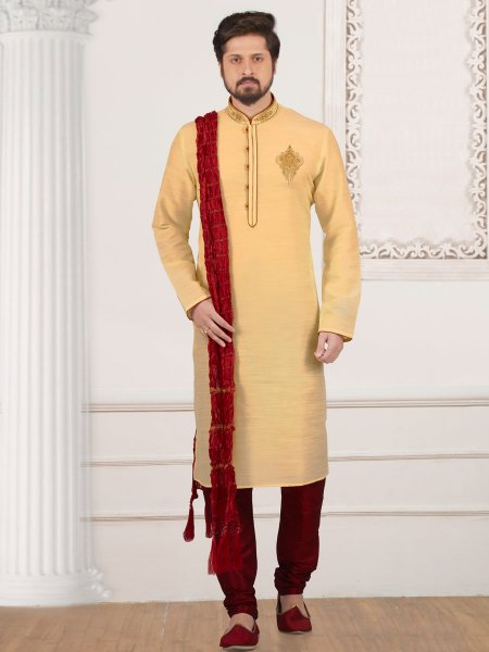 Flax Yellow Art Banarasi Silk Embroidered Festival Kurta