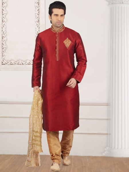 Carmine Red Art Banarasi Silk Embroidered Festival Kurta
