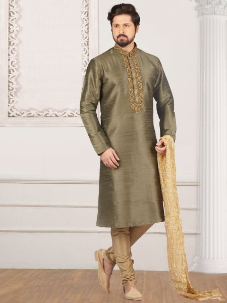 Khaki Brown Art Banarasi Silk Embroidered Festival Kurta