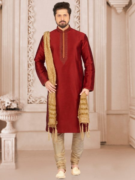 Venetian Red Art Banarasi Silk Embroidered Festival Kurta