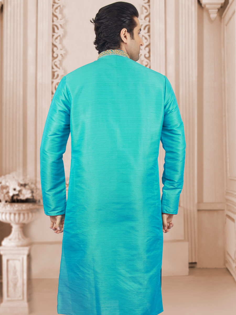 Aqua Blue Art Banarasi Silk Embroidered Festival Kurta