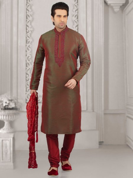 Fallow Brown Art Banarasi Silk Embroidered Festival Kurta