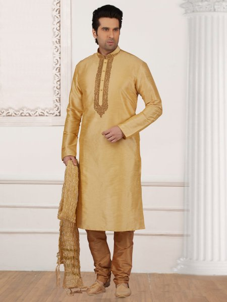 Lemon Chiffon Yellow Art Banarasi Silk Embroidered Festival Kurta