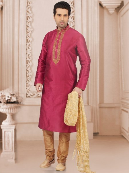 Red Violet Art Banarasi Silk Embroidered Festival Kurta