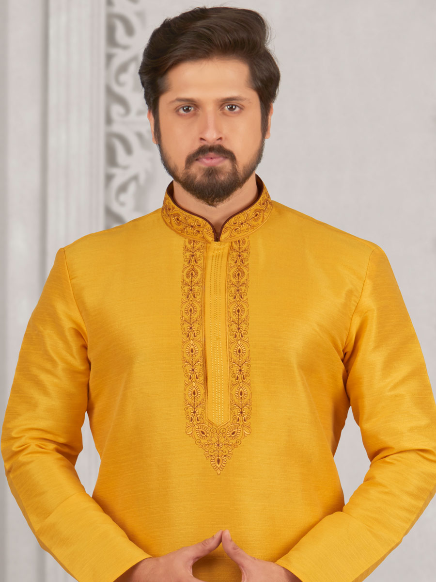 Amber Yellow Art Banarasi Silk Embroidered Festival Kurta