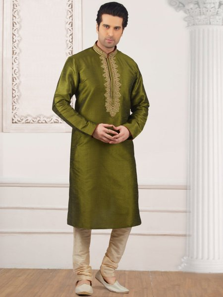 Olive Drab Green Art Banarasi Silk Embroidered Festival Kurta