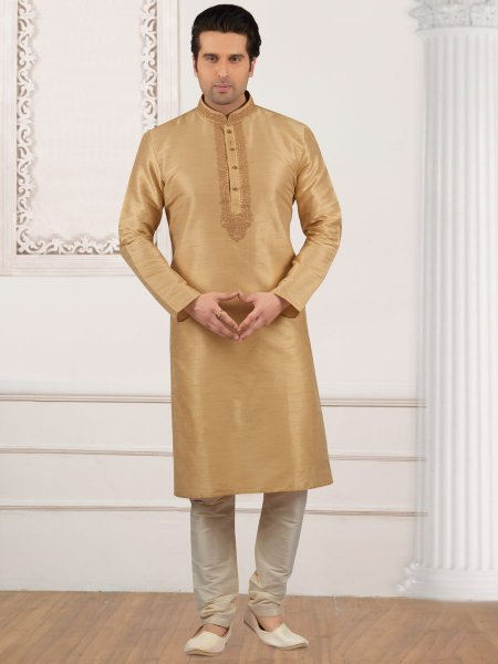 Cream Yellow Art Banarasi Silk Embroidered Festival Kurta