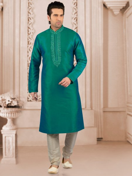 Teal Green Art Banarasi Silk Embroidered Festival Kurta