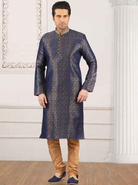Sapphire Blue Jacquard And Brocade Silk Embroidered Festival Kurta