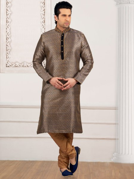 Khaki Brown Jacquard And Brocade Silk Embroidered Festival Kurta